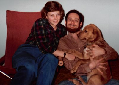 Laurie and Neil with Shara, raised from a pup